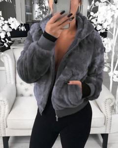 Kendallme Pluszowy płaszcz ze sztucznego futra królika kurtka szary