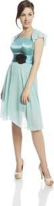 Miętowa sukienka Fokus z krótkim rękawem rozkloszowana z szyfonu