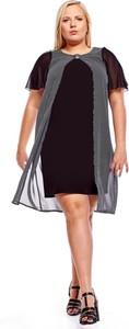 Czarna sukienka Fokus dla puszystych w stylu casual z okrągłym dekoltem