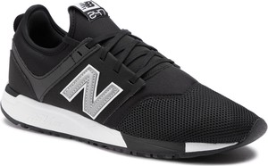 Czarne buty sportowe New Balance sznurowane w sportowym stylu ze skóry ekologicznej