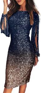 Sukienka Sandbella z okrągłym dekoltem midi z długim rękawem