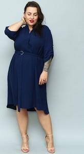Sukienka KARKO midi z długim rękawem asymetryczna
