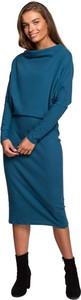 Niebieska sukienka Style z okrągłym dekoltem z długim rękawem z dzianiny