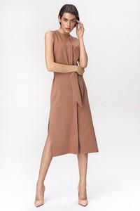 Brązowa sukienka Nife trapezowa bez rękawów