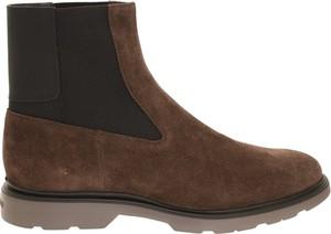 Brązowe buty zimowe Hogan ze skóry