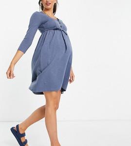 Mama Licious Mamalicious Maternity – Niebieska sukienka t-shirtowa z długimi rękawami, zapięciem na guziki i wiązaniem nad brzuchem z bawełny organicznej-Niebieski