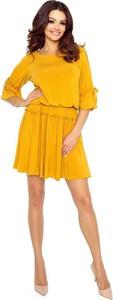 Sukienka Pawelczyk24.pl z długim rękawem z okrągłym dekoltem midi