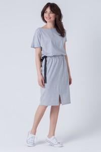 Sukienka butik-choice.pl w stylu casual z okrągłym dekoltem midi