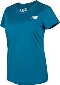 Niebieski t-shirt New Balance w sportowym stylu z okrągłym dekoltem