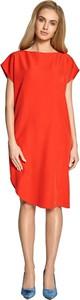 Czerwona sukienka Style midi z okrągłym dekoltem