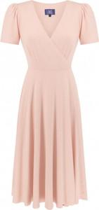 Różowa sukienka Lake z krótkim rękawem z dekoltem w kształcie litery v