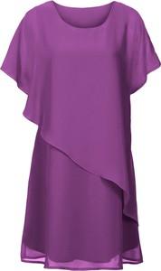 Różowa sukienka bonprix BODYFLIRT boutique z okrągłym dekoltem z krótkim rękawem asymetryczna