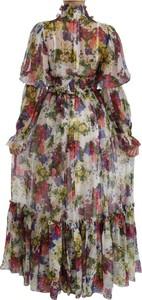 Sukienka Dolce & Gabbana z dekoltem w kształcie litery v z długim rękawem maxi
