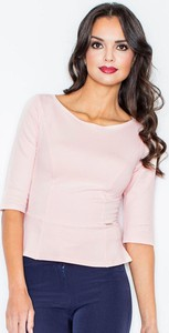 Różowa bluzka Figl z bawełny z okrągłym dekoltem z krótkim rękawem
