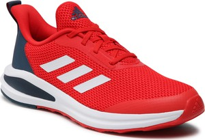 Czerwone buty sportowe Adidas sznurowane z płaską podeszwą