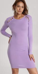 Fioletowa sukienka Renee z okrągłym dekoltem mini w stylu casual