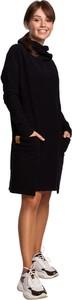 Czarna sukienka Be z dzianiny z długim rękawem