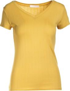 Żółty t-shirt Multu z krótkim rękawem w stylu casual