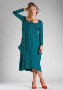 Niebieska sukienka Nommo oversize w stylu casual z długim rękawem