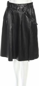 Czarna spódnica Calliope midi ze skóry w rockowym stylu