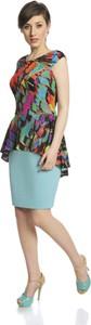 Sukienka Fokus z dzianiny z krótkim rękawem baskinka