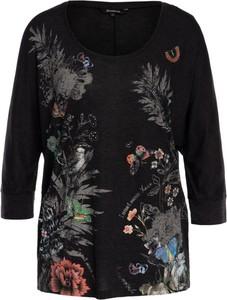Bluzka Desigual z okrągłym dekoltem w stylu vintage