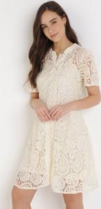 Sukienka born2be w stylu boho z krótkim rękawem trapezowa
