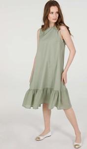 Zielona sukienka Unisono z bawełny midi