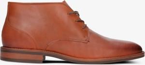Brązowe buty zimowe Tommy Hilfiger sznurowane w stylu casual