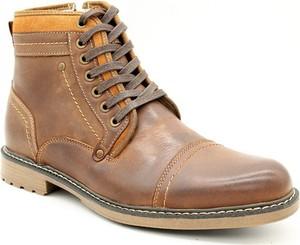 Brązowe buty zimowe American Club sznurowane