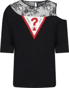 Czarny t-shirt Guess Jeans z krótkim rękawem z okrągłym dekoltem