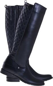 Granatowe kozaki Lafemmeshoes w stylu casual przed kolano ze skóry