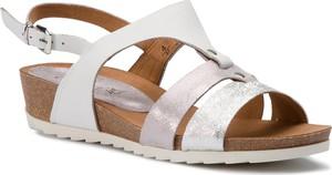 Sandały Caprice ze skóry na niskim obcasie w stylu casual