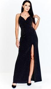 Czarna sukienka Mally kopertowa z dekoltem w kształcie litery v