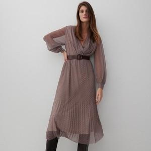 Brązowa sukienka Reserved z długim rękawem midi w stylu casual