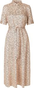 Sukienka Second Female z bawełny w stylu casual z dekoltem w kształcie litery v