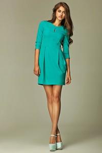 Sukienka Nife z długim rękawem midi z okrągłym dekoltem