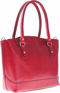 Czerwona torebka GENUINE LEATHER na ramię