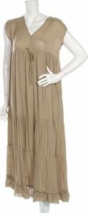 Brązowa sukienka Folia bez rękawów maxi