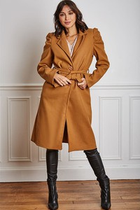 Brązowy płaszcz Joséfine w stylu casual
