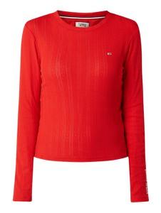Czerwona bluzka Tommy Jeans w stylu casual z bawełny z okrągłym dekoltem