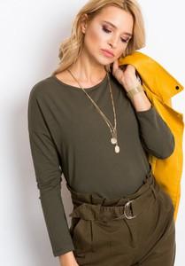 Zielona bluzka Sheandher.pl z długim rękawem w stylu casual z bawełny
