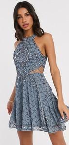 Niebieska sukienka Asos mini bez rękawów z golfem