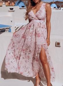 Sukienka Sandbella z dekoltem w kształcie litery v w stylu boho maxi