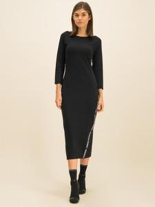 Czarna sukienka Armani Exchange z okrągłym dekoltem z długim rękawem w stylu casual