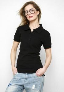 Czarna bluzka Freeshion w stylu casual z krótkim rękawem