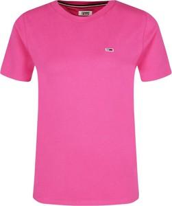 Różowy t-shirt Tommy Jeans w stylu casual z okrągłym dekoltem
