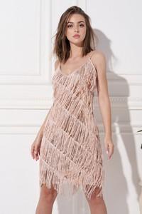 Różowa sukienka Ella Boutique z dekoltem w kształcie litery v mini