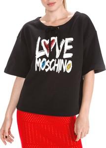 Bluzka Love Moschino z bawełny w stylu glamour