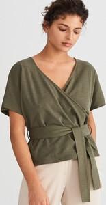 628be6987f Zielona bluzka Reserved z krótkim rękawem w stylu casual